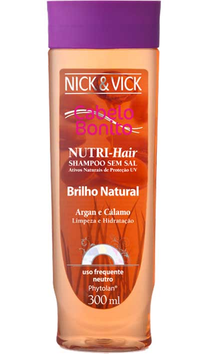 SHAMPOO BRILHO NATURAL NICK E VICK NUTRI HAIR 300 ML