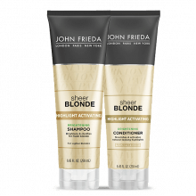 KIT SHAMPOO E CONDICIONADOR SHEER BLONDE  HIGHLIGHT ACTIVATING BRIGHTENING PARA LOIRO CLARO - JOHN FRIEDA